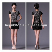 2012 new fashion style satin with ruffles short sleeve Mini skirt LYQ18