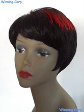 2012 new style synthetic red highlights cute short hair wigs for african american -684
