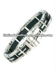 mens stainless steel rubber cross bracelet
