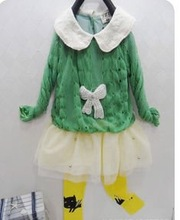 2012 fashion lace collar kniting wool hollow out bow lovely children dress