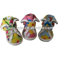 UW-PSS-001 2012 Spring and summer fashion design, small size colorful printing canvas pet shoes,dog shoes with velcro straps