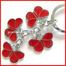 fashion red butterfly keyrings