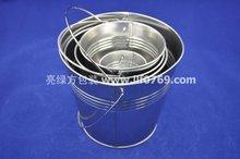 small metal tin bucket with handle