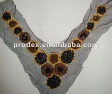 garment collar/beaded neck trimming, neck designs for ladies suit