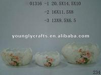 Ceramic flower pot in egg shape