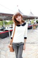 Black Baby collar white body T-shirts