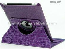 For iPad 3 Crocodile 360 Degree Rotation Leather Skin Case Cover