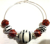 Basketball Wives Paparazzi Inspired Hoop Earrings with zebra pint beads
