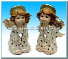 2012 New design ceramic angel crafts , pottery angel figure