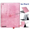 Pink Crocodile Skin Pattern Leather Cover Case for iPad 2(2 Way Views)