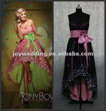 N051 latest Real sample 2012 new design pregnant short front long back prom dress 2012