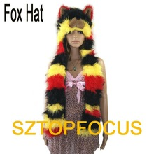 RAINBOW LADY'S ANIMAL HAT AND CAP WITH SCARF