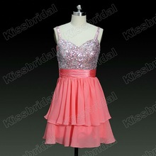 Latest No Risk Shopping Designer Spaghetti Strap Sequins Chiffon Short Junior Prom Dress 2012