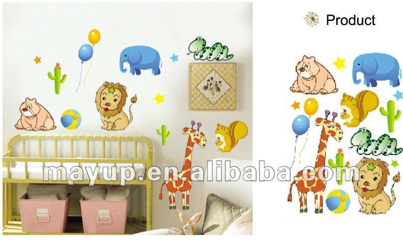 Animais dos desenhos animados decal adesivos de parede para quarto de crianças