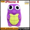 3D cute tortoise shape silicon case cover for iphone 4 4s case