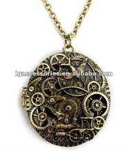 Newest Retro Time Gear Necklace Photo Frame Necklace Hollow Necklace