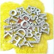 8mm alphabet slider charms with half rhinestones