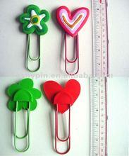 2012 promotion 3D soft pvc book mark,pvc paper clip