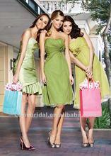 Green chiffon summer girls party dresses cheap short bridesmaid dress