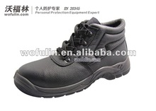 Black embossed leather steel toecap safety shoes