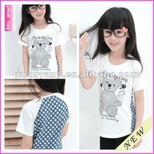 2012 hot sale blue plain 100% cotton little Bear summer children tshirt