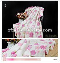 2012 hot sale fabric/3D flower print/100% polyster super soft Coral fleece blanket
