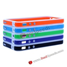 High Quality TPU Bumper Case for iPhone 4S/ iPhone 4 with Metal Button(White+Orange+White)