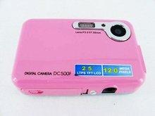 """2012 new cheap gift still digital camera, 5.0Mega pixel CMOS 4X digital zoom 2.4"""" LTPSLCD red"""