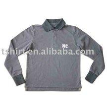 Bordado 100% gris de algodón costilla plana polo ropa de los niños de alta calidad