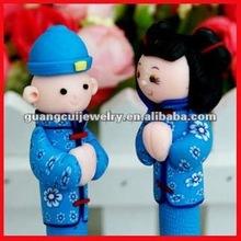 Clay cartoon boy and girl wedding pens