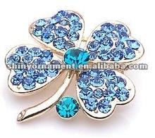 2012 new metal alloy rhinestone lucky flower brooch pin