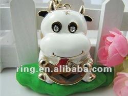 Lovely Cow Bull OX Melon Crystal Key Ring Key Chain Fob