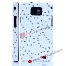 New Fashion Bling Bling Diamonds PU Hard Case for Samsung Galaxy S2 i9100(White)