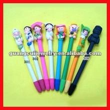 Cartoon design polymer clay pens souvenirs