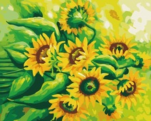 G215 sunflower design painting on canvas 2015 hot pictures painting Diy oil Paint by numbers