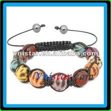 Vnistar zebra acryl bead wrap bracelet SBB279-3