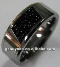 Fashionable tungsten wood inlaid ring