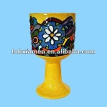 decorative jewish items ceramic yellow kiddush cups