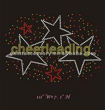 cheerleading around lots of colorful stars hotfix rhinestone motif