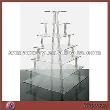 Square Table Dismountable 7-Tier Plexiglass Cupcake/Food Display Shelf
