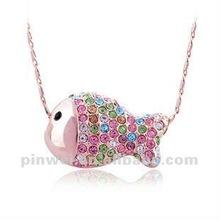 2012 New Design Fashion Cz Rhinestone Fish necklaces jewelry PE60054