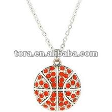 2012 fashion Orange Crystal Basketball pendant Necklace