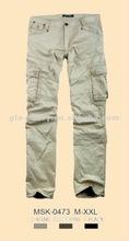 2012 men khaki baggy cargo pants 100% cotton