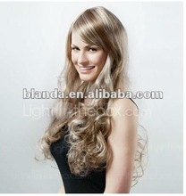 Extra Long Synthetic Golden Blonde With Light Blonde Curly Hair Wig
