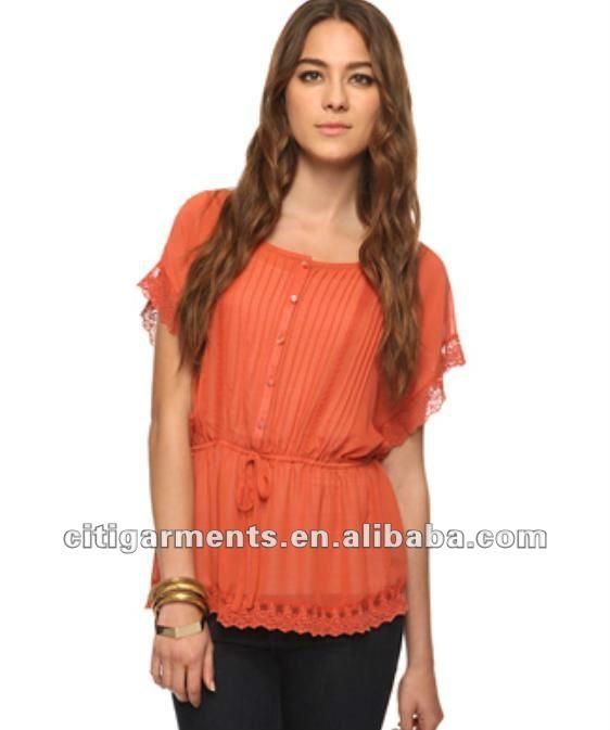 Nuevo diseño para damas pura gasa top/tee/2012 blusa de moda mujer ...