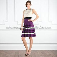 pleat details on the round neckline evening dress