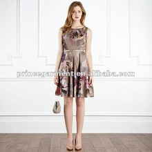 Pleated neck detail and floral evening dress