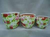 Simple flower picture ,Ceramic Painted Flower pots