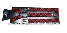 fashion new 2.5cm width red plaid printed elastic braces