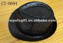 Bright black fedora hat